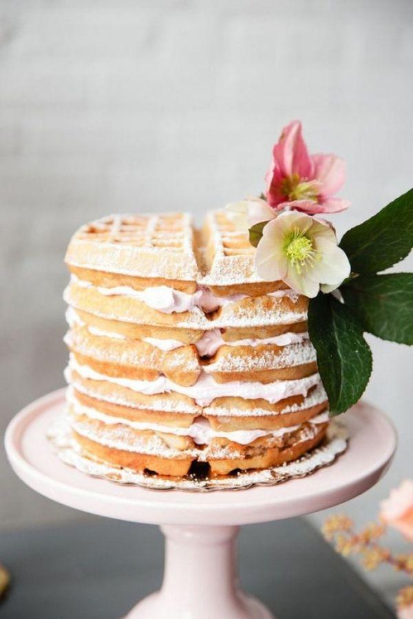Waffle Cake for a Brunch Wedding | Carly M Photography | http://heyweddinglady.com/summer-brunch-wedding-ideas-peach-blue/