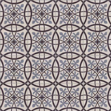 Portugese tegels CIRCLEZ 04: Circulair motief in de kleuren zwart-gebroken wit-donkerblauw. Deze cementtegel is te combineren met effen tegels F18.