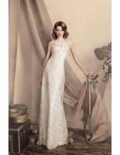 Rund-neck Kolumne Elegante Schlichte Brautkleider aus Spitze