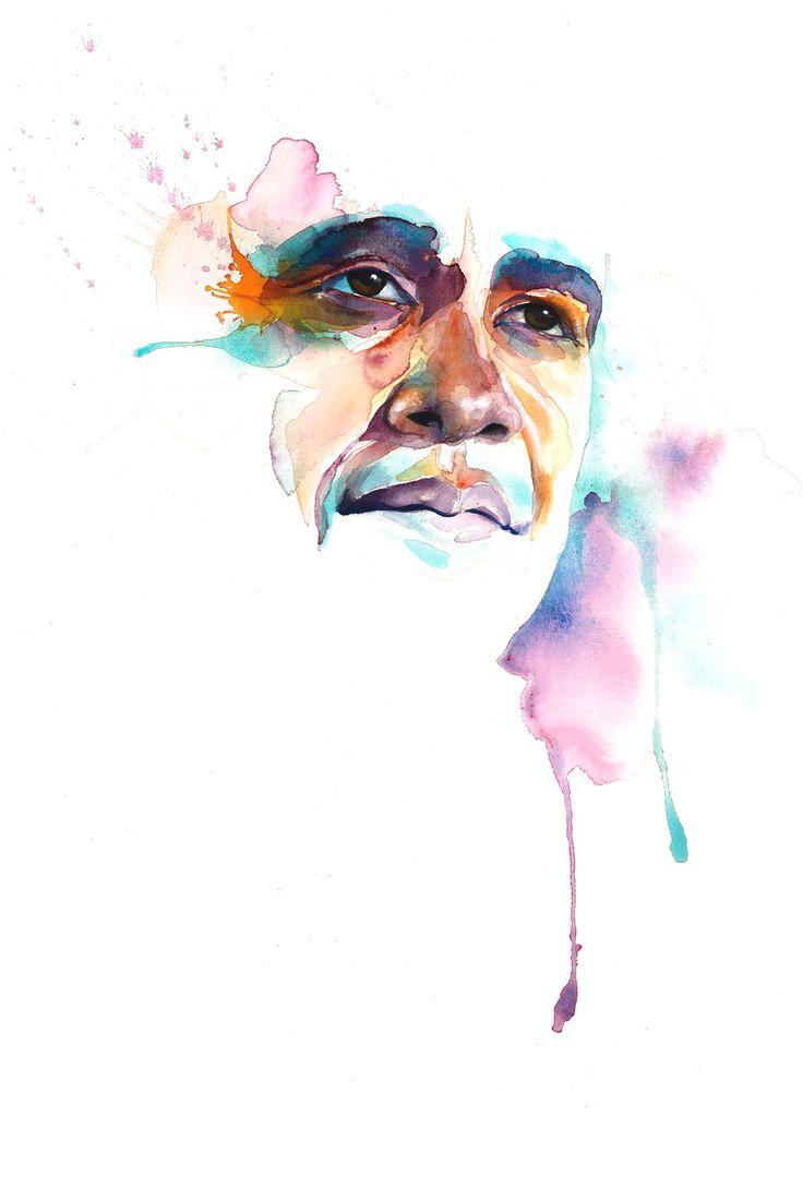 Portrait of Barack Obama by Marion Bolognesi