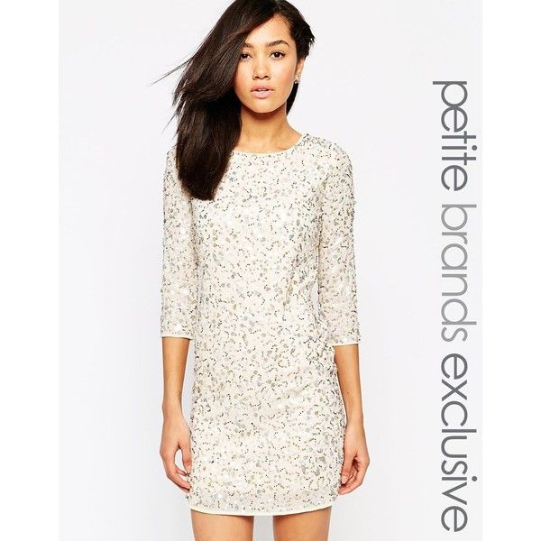 Maya Petite Sequin Body-Conscious Dress With Cowl Back ($144) ❤ liked on Polyvore featuring dresses, cream, petite, white open back dress, sequin bodycon dress, sequin dress, sequin cocktail dresses and bodycon dress