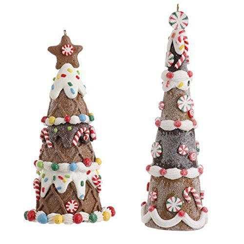 Gingerbread Tree Ornament Set of 2 - Gingerbread Tree Ornament Set of 2 - Cookie Confections Ornament Collection - by Raz Imports - Made of Clay Dough and Hand Painted - Measures 6 inches and 5 inches