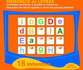 Actividades para Educación Infantil: Memory de letras online