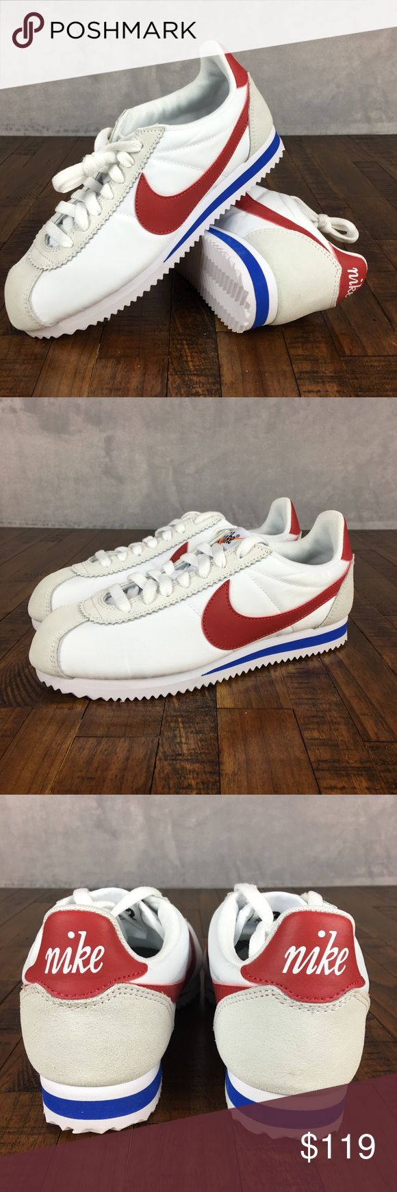NEW Nike Classic Cortez Shoes Nylon Premium NIKE CLASSIC CORTEZ PREMIUM SNEAKERS #882258-101  Size:  7, Womens  Color:  Red, White, & Blue  Condition: New without Box; 100% Authentic Nike Shoes Sneakers #sneakersnike