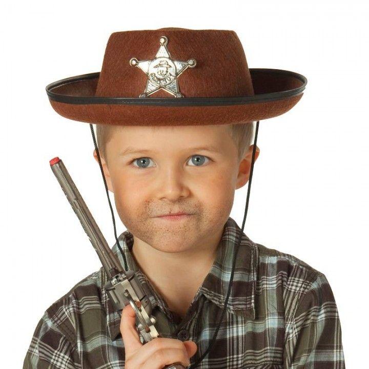 Cowboy Sheriff Hoed Bruin Western Kinder Verkleed Accessoire