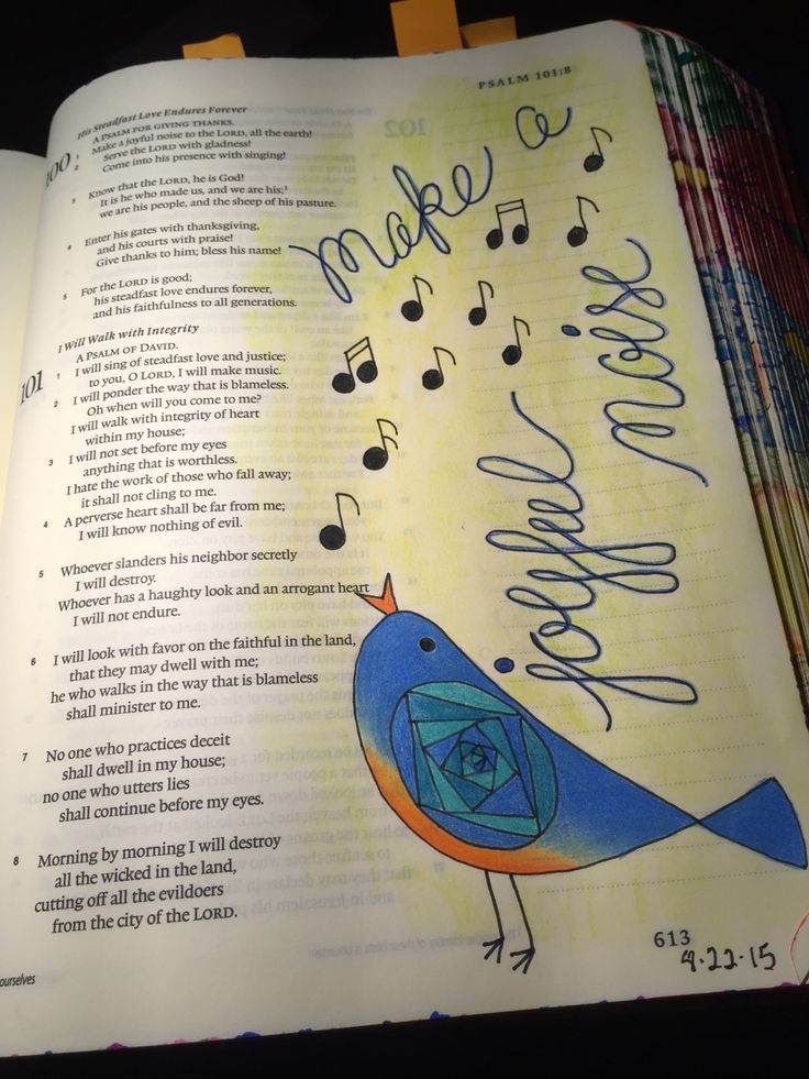 Psalm 100:1.  Sherrie Bronniman - Art Journaling: In My Bible