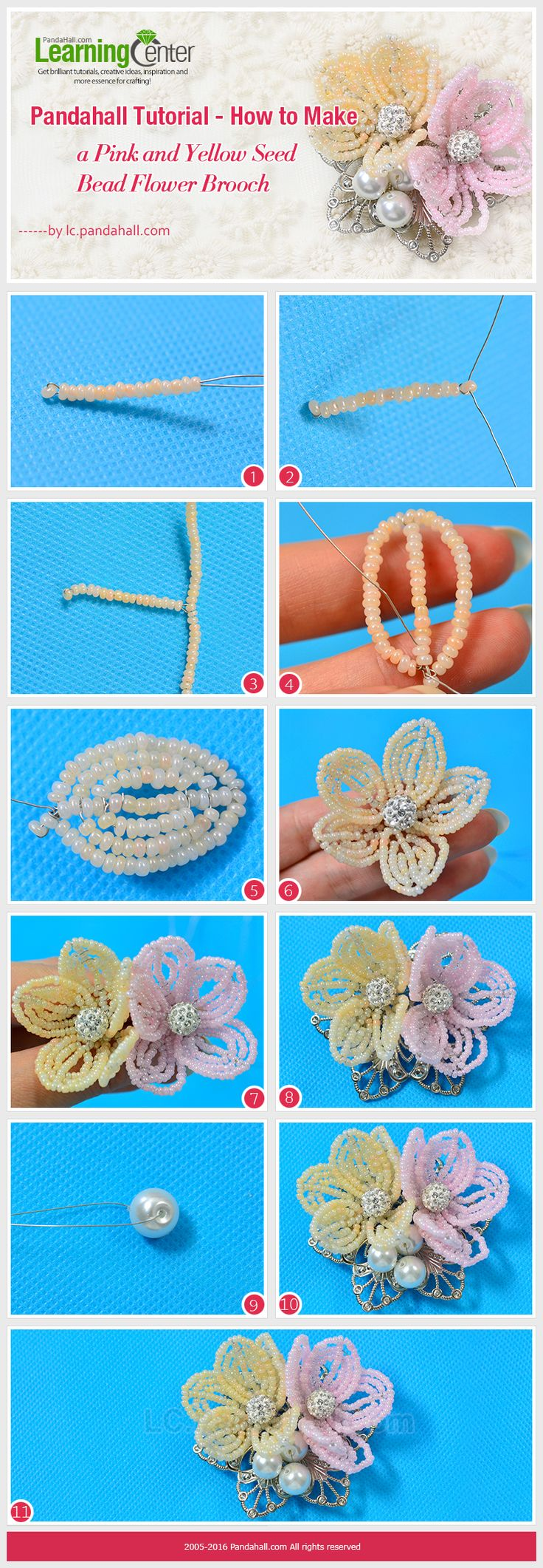 Pandahall Tutorial - How to Make a Pink and Yellow Seed Bead Flower Brooch