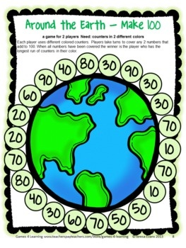 Math Board Game for Earth Day - Earth Day Math Games and More by Games 4 Learning.  $