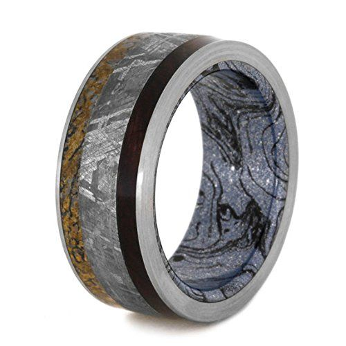 Amazon.com: Meteorite, Rosewood, And Dinosaur Bone Ring, Titanium Wedding Band, Mokume Gane Ring: Handmade