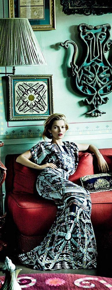 Kate Moss in Etro dress