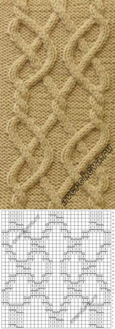 Узор 710 « коса 30 петель»   каталог вязаных спицами узоров