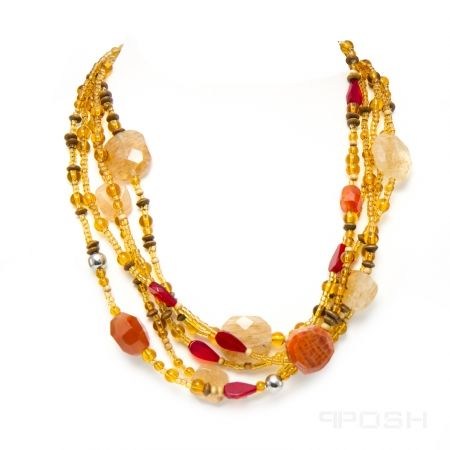 Global Wealth Trade Corporation - POSH Vibe - Jodi - Necklace-- Genuine agate and glass necklace - Made with high strength cord to resist breakage- All metals are IP plated stainless steel- Click for more info.