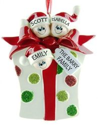 Personalised Christmas Ornament - 3 People/ Family of 3 poking out of a glittering Christmas Present. Specially personalised for your needs by WowWee.ie | €13.49