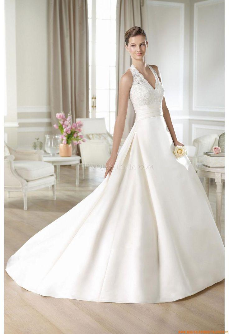 V-neck A-linie Schlichte Preiswerte Brautkleider 2014 aus Satin mit Spitze