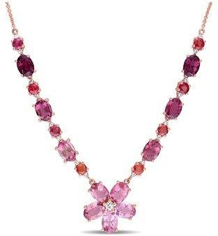 Amour Pink Tourmaline And Orange Sapphire And Diamond Necklace.