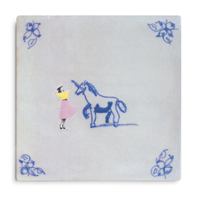 Lady and the Unicorn is an Old Dutch #Tile, designed by visual #artist Marga Van Oers. The original #design of the Old Dutch tile dates back to ca. 1700 and is part of the tile collection of Kramer Art & Antiques Amsterdam #HomeDeco #StoryTiles #ArtDeco