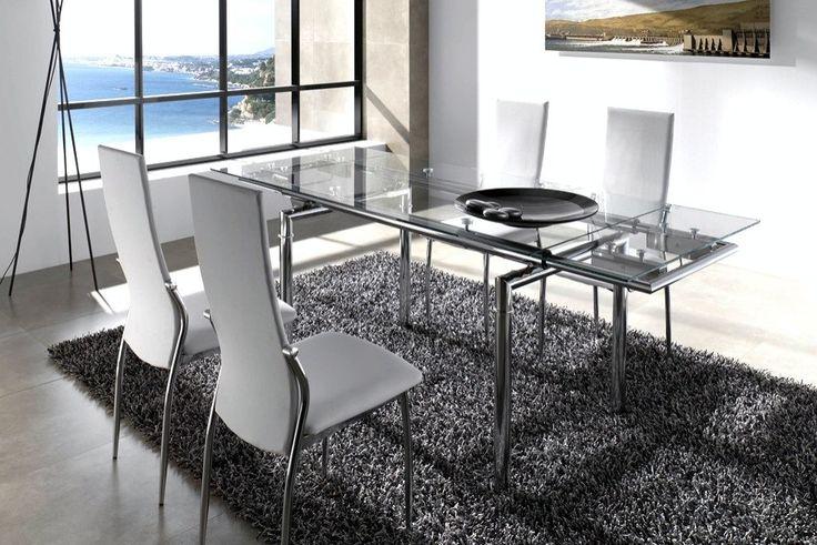 Juego de comedor mesa extensible 4 sillas linea moderna for Sillas salon modernas