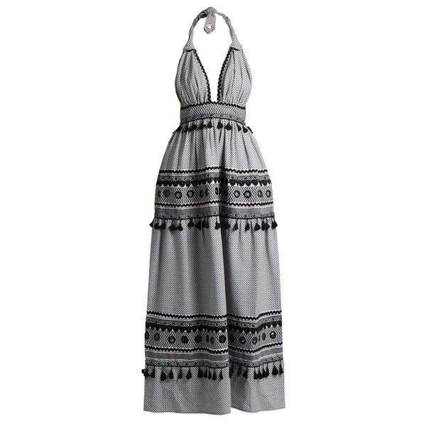 David Halter Cotton Maxi Dress ($685) ❤ liked on Polyvore featuring dresses, maxi dresses, halter neck maxi dress, halter-neck dress, full skirts and cotton dresses