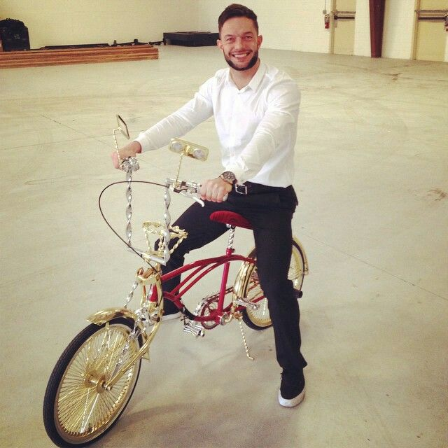 Finn Balor on a bike... Still looking badass as usual.