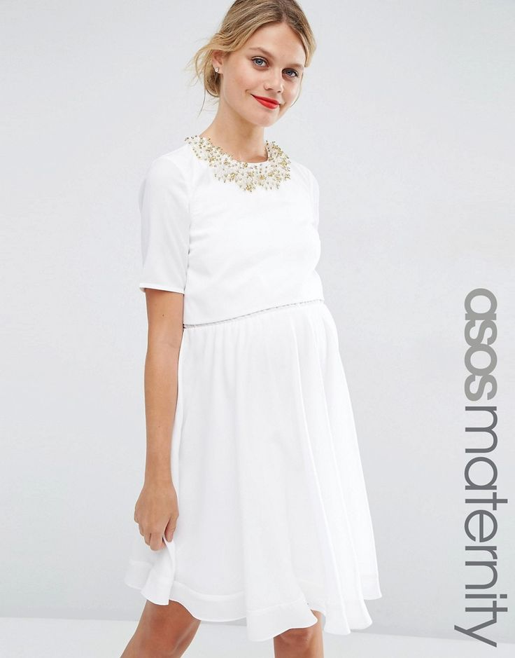 Buy it now. ASOS Maternity Embellished Crop Top Mini Dress - White. Maternity dress by ASOS Maternity, Woven fabric, Round neckline, Crop top overlay, Embellished detailing, Zip-back fastening, Regular fit - true to size, Designed to fit through all stages of pregnancy, Hand wash, 100% Polyester, Our model wears a UK 8/EU 36/US 4 and is 180cm/5'11 tall. ABOUT ASOS MATERNITY Maternity dressing gets bumped up to next-level status with the ASOS Maternity edit. Designed by the London-based team…