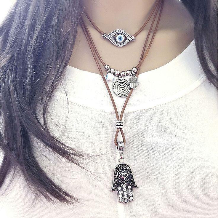 colar com pingente oração pai nosso olho grego hansa,colar de couro com pingentes prata hansa olho  grego, bijoux finas atacado,Beth Souza Acessórios