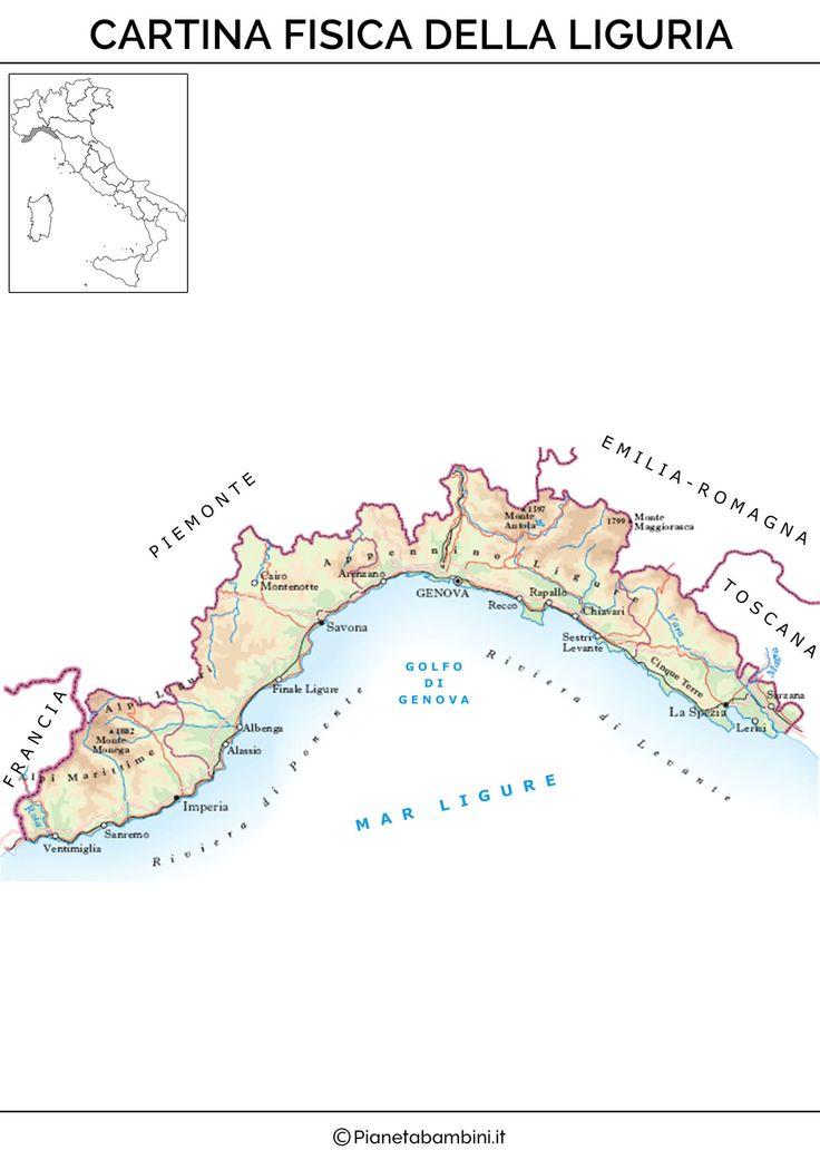 Cartina Fisica Liguria