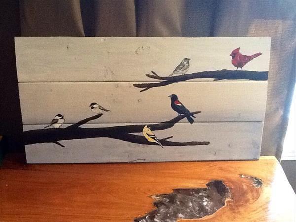 DIY Pallet Bird Wall Art   101 Pallets