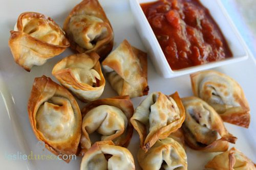 Mexican Wonton appetizers, I think I'll make a version of these for Julie's on the 16th.
