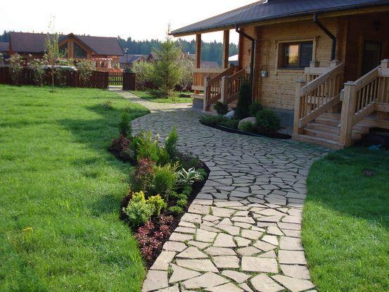 Прочные и красивые дорожки из природного камня на бетонном основании