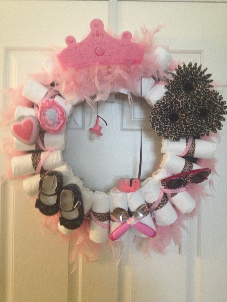 Diaper Wreath For A Baby Girl Crafts Diaper Wreath