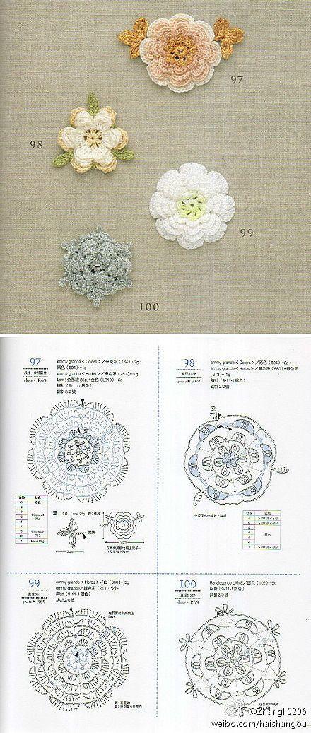 Crochet Knitting Handicraft: Floral motifs