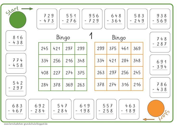 hier jetzt das Bingo für die Subtraktion   und auch hier kann man abwechselnd   auf einem Schmierpapier rechnen und kontrollieren,   um da...