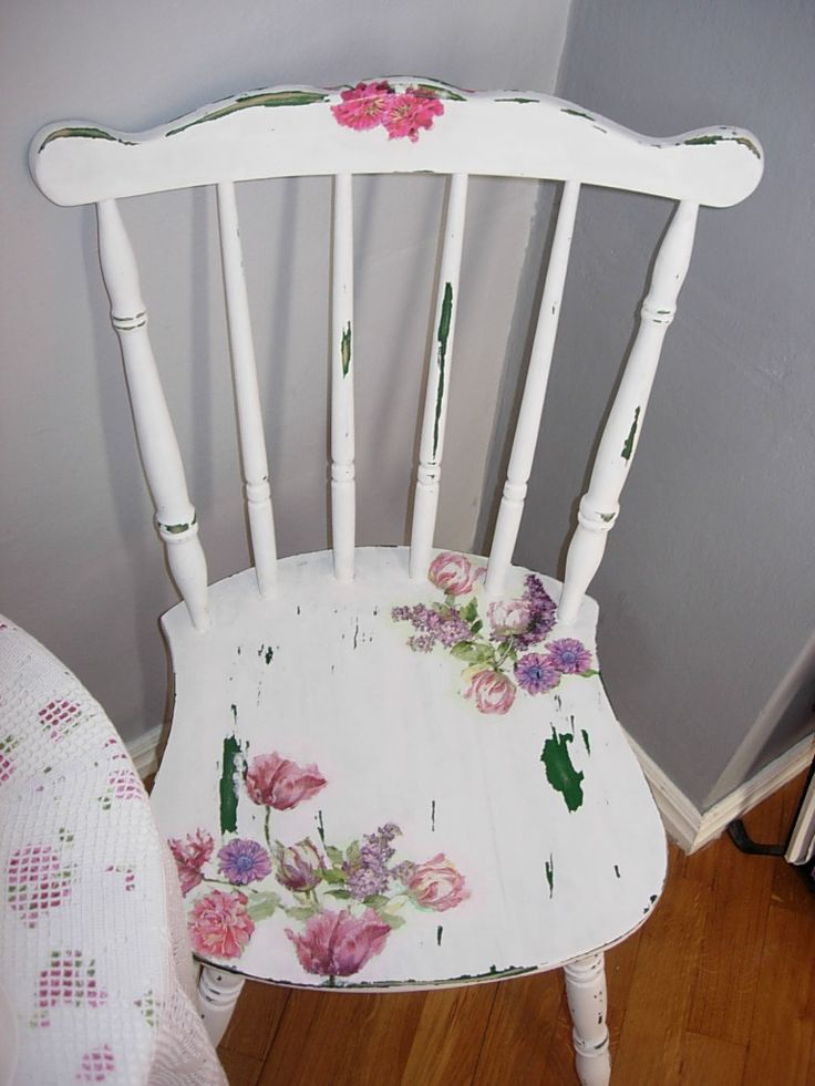 Shabby chic chair, decoupage, flowers on furniture, decoupage on furniture, distressed furniture, diy