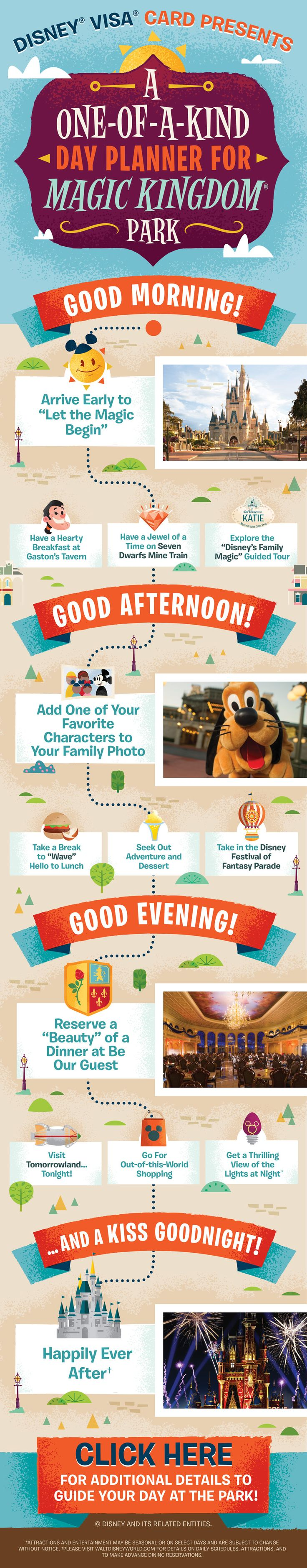 For newcomers and repeat visitors alike, the question is always how to plan your day to get the most out of your vacation to Magic Kingdom® Park at Walt Disney World® Resort. Well, our guide has plenty of ideas! From breakfast, to dinner, with snacks in between, and all the way through to the evening's events, we'll guide you through your Disney day.