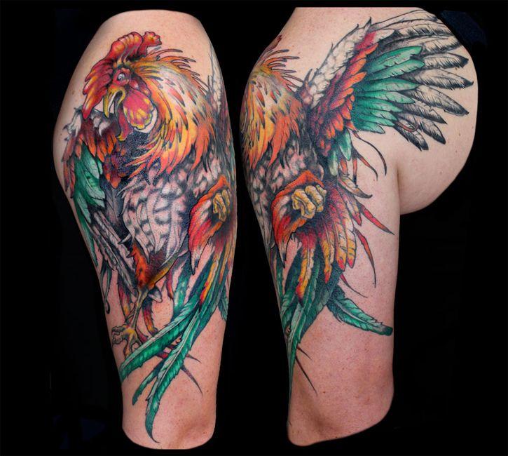 tattoo by Aubrey Mennella aubme.com ig: @aubreymennella rooster arm tattoo
