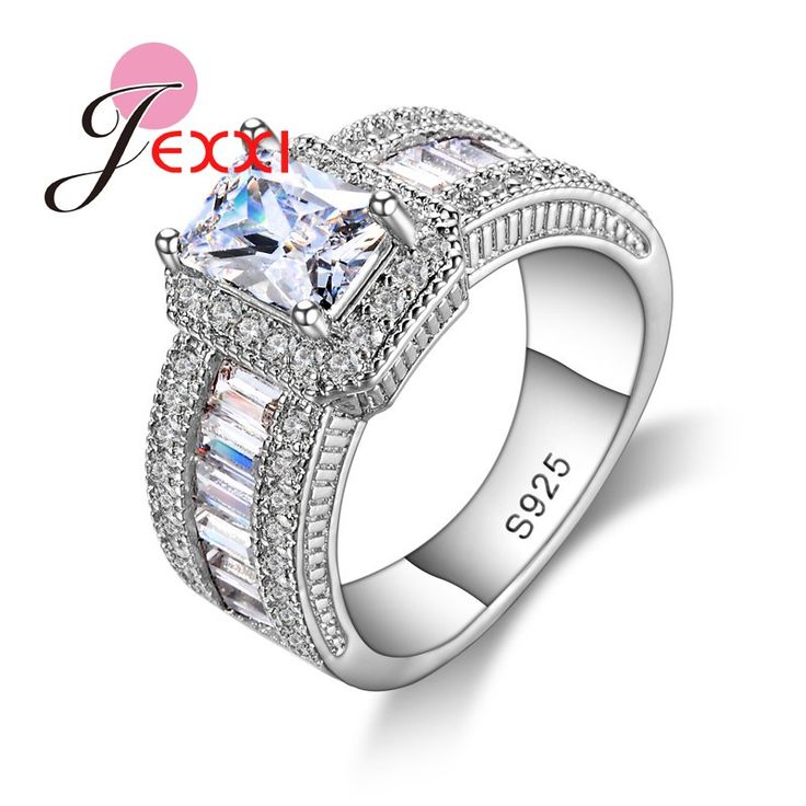 JEXXI Fashion 925 Sterling Silver Rings for Women Wedding Engagement Female Ring Femme Party Jewelry Wholesale Price Hot Sale