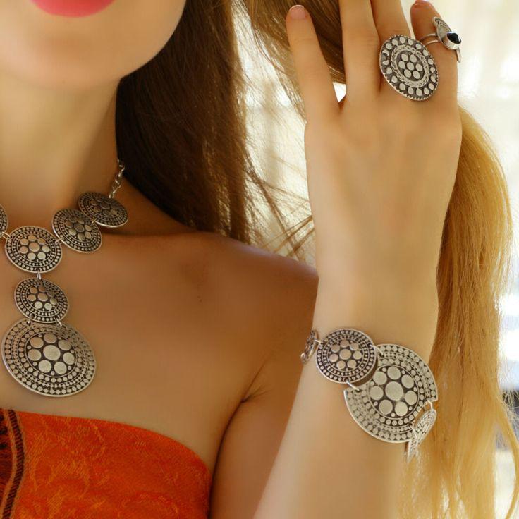 Statement Fashion Antique Silver Retro Women Large Wrap Boho Metal Bracelet #Takimania #Statement
