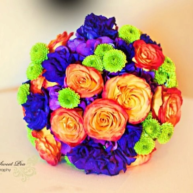 Purple And Orange Wedding Bouquet A Little Darker Instead