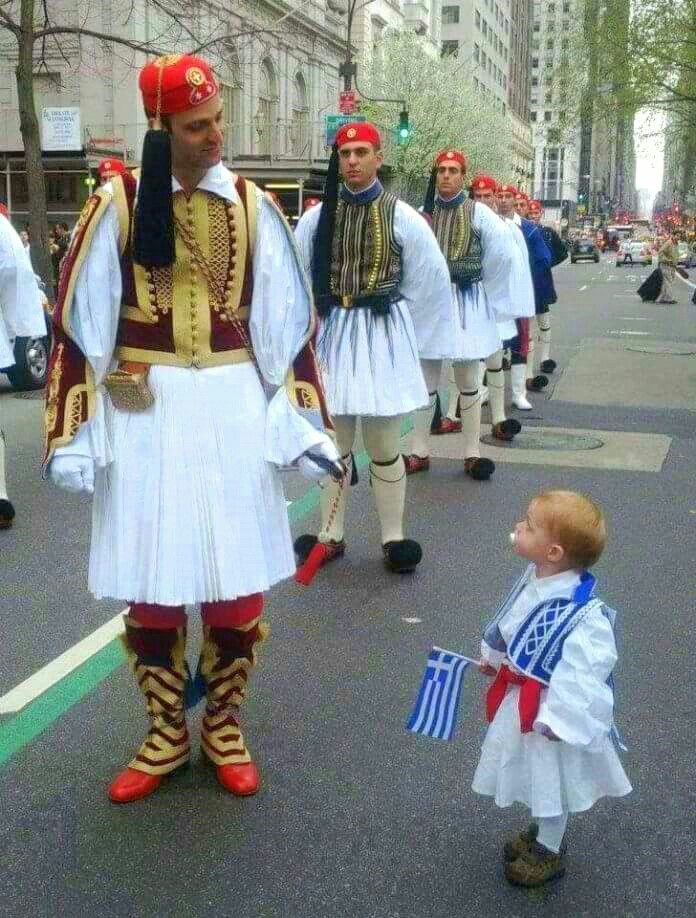 Greek soldiers in traditional costume.