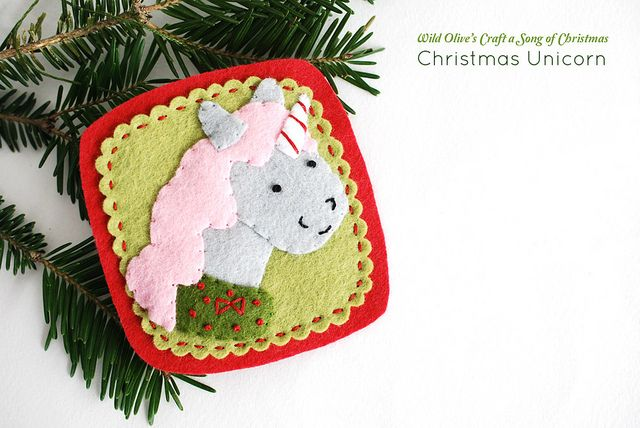 Christmas Unicorn Ornament by wildolive downloadable pattern