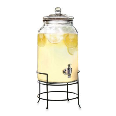 2.75-Gallon Glass Beverage Dispenser with Metal Stand - BedBathandBeyond.com