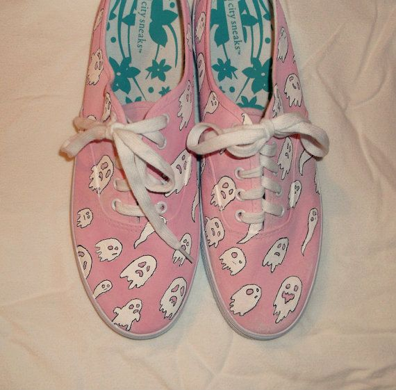 Spooky Kawaii Ghost Shoes  Hand Painted by InfinityOnBandShoes, $45.00