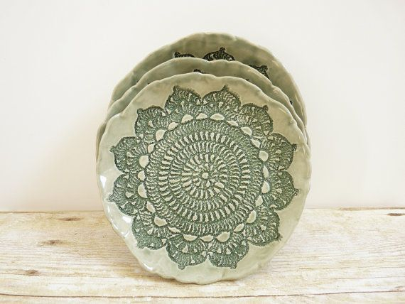 Ceramic Lace Plate Ring Holder Trinket Dish by MyMothersGarden