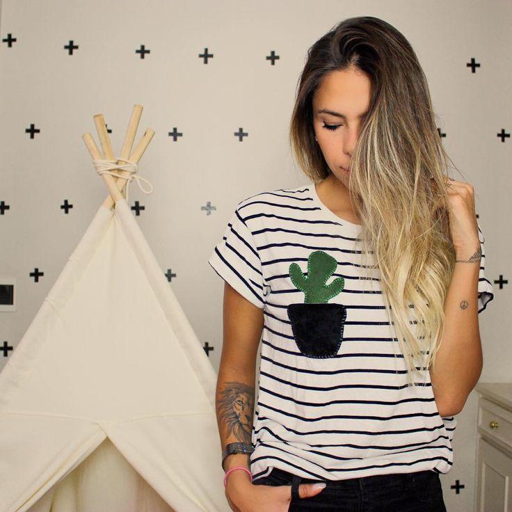 DIY blusa listrada com estampa de cactus por Karina Malanesi (via omundodejess.com)