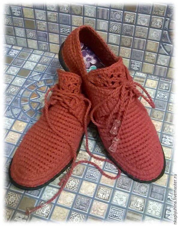 Купить Мокасины хлопковые - коричневый, мокасины вязаные, обувь крючком, летняя обувь
