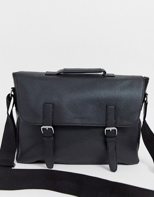 DESIGN faux leather satchel in black saffiano with double straps and internal laptop pouch