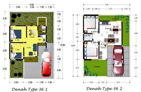desain denah rumah minimalis type 36 1 lantai | denah