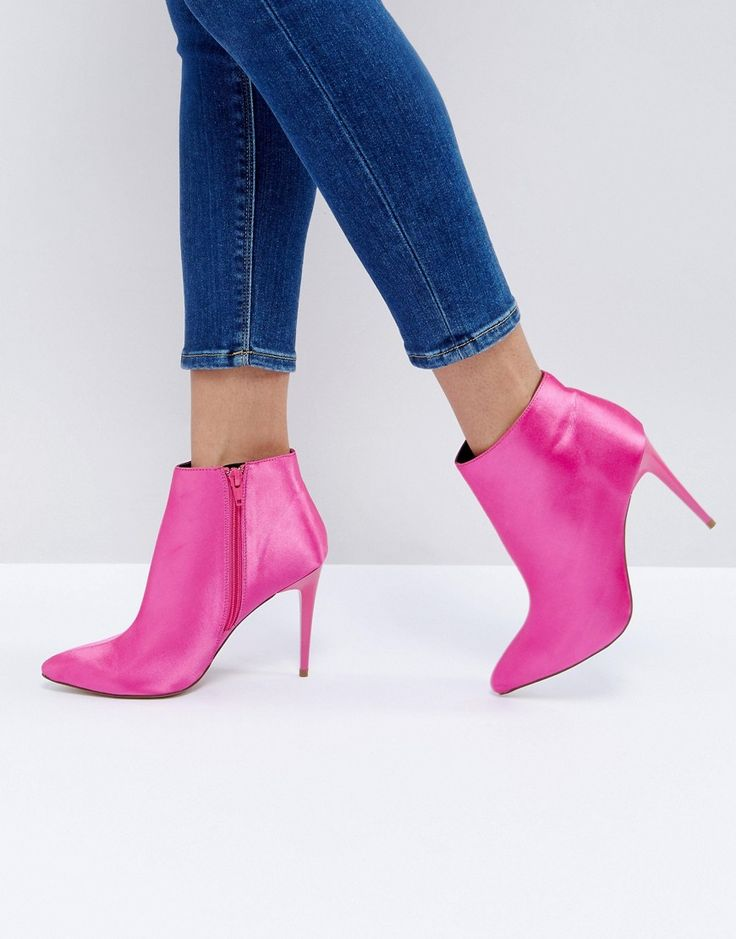 New Look Satin Heeled Ankle Boot - Pink