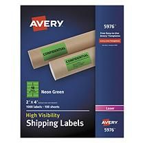 "Avery High-Visibility Shipping Label, Laser, 2"" x 4"", Neon Green, 1000ct."