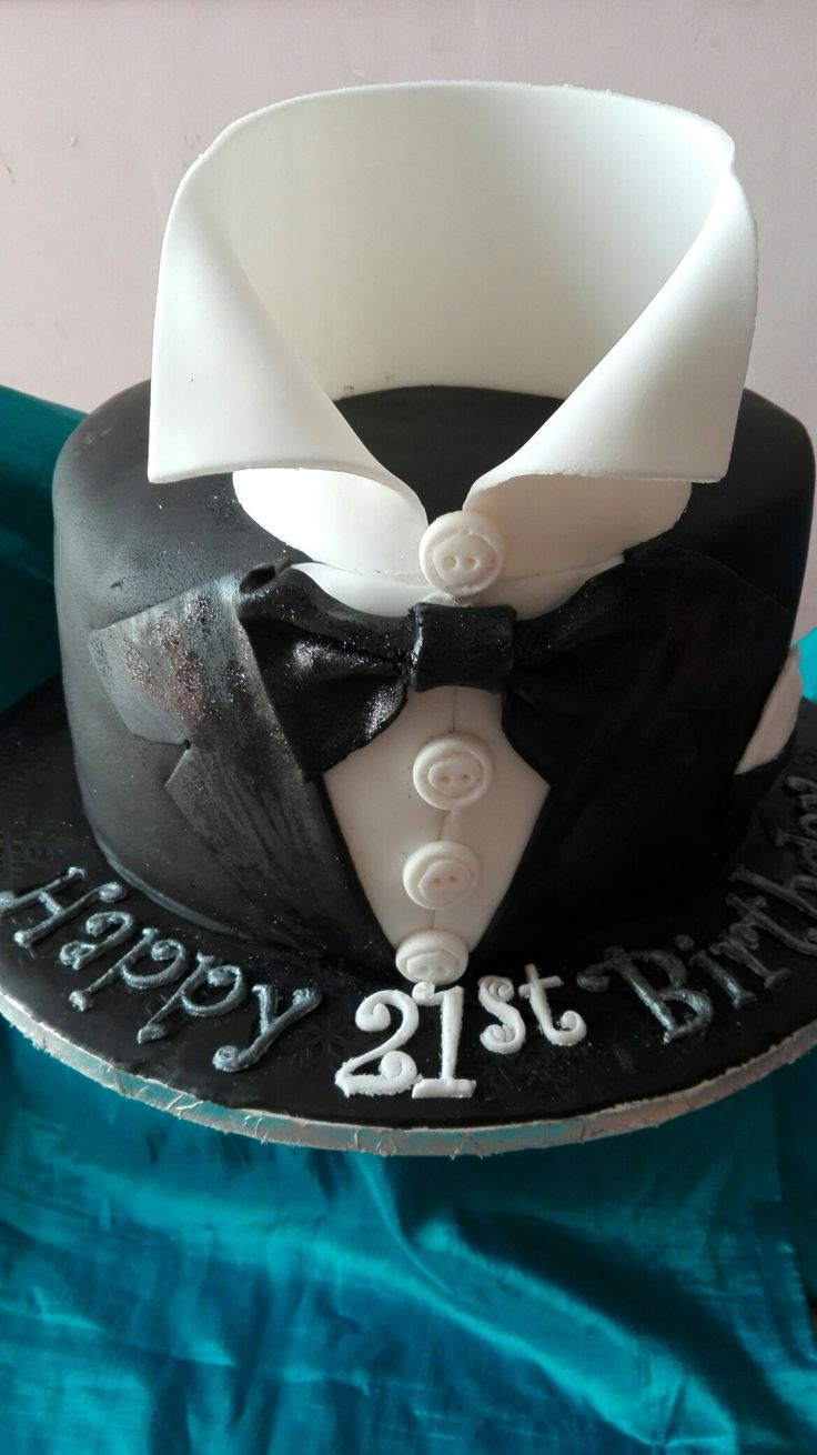 Black tuxedo birthday cake
